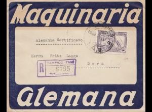 Mexico 1928: Registered Tampico/Laredo Tam. to Gera