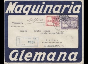 Mexico 1925: Registered letter to Gera