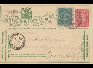 Mexico 1897: post card Monterey to Belgium / Gant