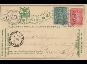 Mexico 1897: post card Monterey to Belgium / Gant