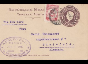Mexico 1920: letter San Juan de Letran to Bielefeld, via New York