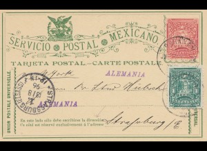 Mexico 1896: post card to Strassbourg with error in bottom line - direceion -