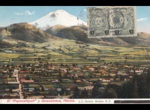 Mexico 1920: post card Popocatepetl to Sonneberg/Germany