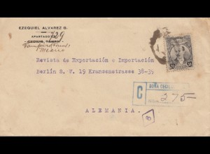 Mexico 1921: registered letter to Berlin