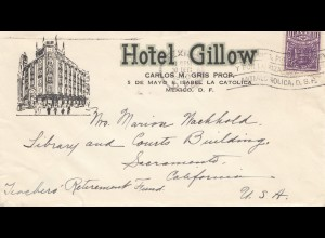 Mexico 1940: letter Hotel Gillow to Sacramento/California