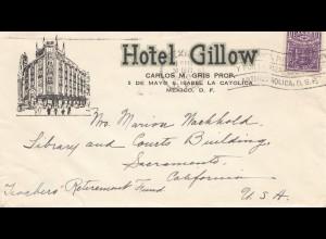 Mexico 1940: letter Hotel Gillow to Sacramento/California