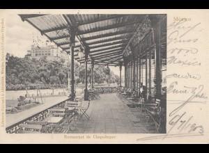 Mexico 1903: post card Chapultepec/Restaurant to Glauchau