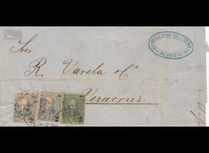 Mexico 1869: letter Guillermo to Vera Cruz