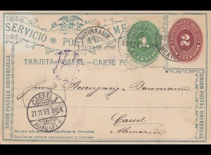 Mexico 1893: post card Sucursale to Kassel/Germany