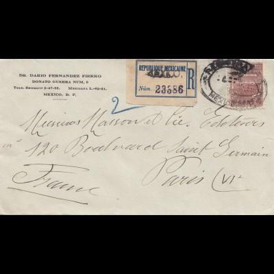 Mexico 1936: Registered Mexico-City to Paris