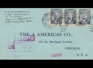 Mexico 1917: Registered Monterrey to Chicago/USA