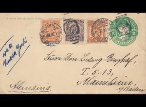 Mexico 1908: Mexico-City via New York to Mannheim/Germany