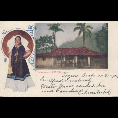 Mexico 1904: post card Tehuantepec Rudolstadt/Germany