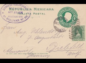 Mexico 1914: post card Mexico to Bielefeld
