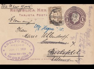 Mexico 1919: post card San Juan de Letran to Bielefeld