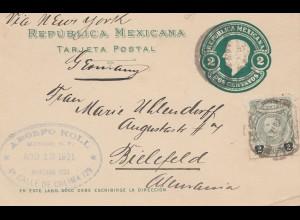 Mexico 1921: post card Mexico to Bielefeld