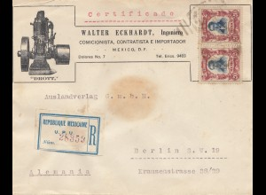 Mexico 1922: Registered letter Mexico to Berlin