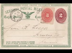 Mexico 1892: post card - Foreign NY transit - to Arnsberg/Germany