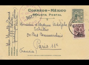 Mexico 20.4.1945: post card Guadalajara to Paris - US Censor