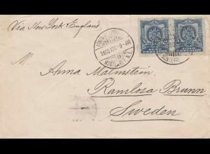 Mexico 1901: Monterrey to Ramlosa Brunn/Sweden via New York