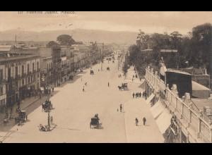Mexico 1908: post card Mexico city Avenida Juarez to Johanngeorgenstadt