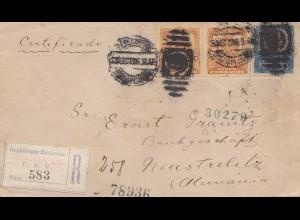 Mexico 1906: Registered letter to Neustrelitz