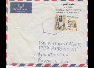 Fujeira post office via air mail to Philadelphia