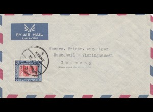 Jordan: air mail 1957 from Amman to Remscheid-Vieringhausen