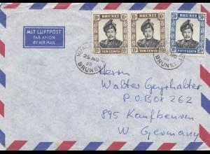 Brunei 1968: air mail Seria to Kaufbeuren