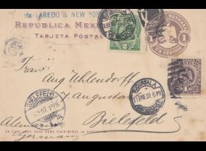 Mexico: 1907: post card to Bielefeld
