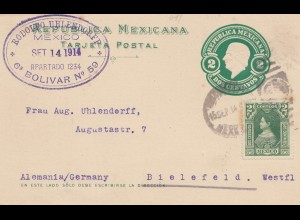 Mexico 1914: post card to Bielefeld, Begin of first World War WWI