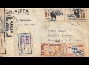 Mexico 1938: registered to Chemnitz: Zur Devisenüberwachung geöffnet