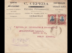 Mexico 1922: registered Veracruz to Berlin