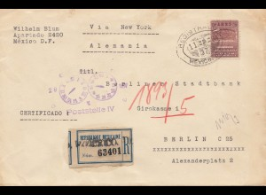 Mexico 1937: registered to Berlin - Stadtbank