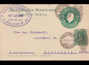 Mexico 1914: post card Mexico City to Bielefeld