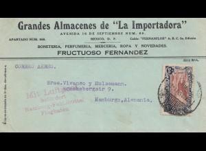Mexico 1932: Perumberia to Hamburg, Mit Luftpost befördert-Flughafen Fuhlsbüttel