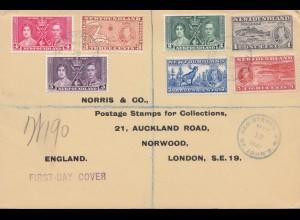 Newfoundland: FDC 1937 registered to Norwood London