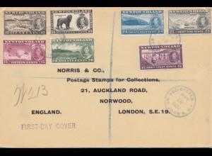 Newfoundland: registered 1937 FDC to Norwood London