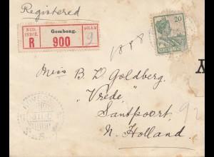 Ned. India 1916: Registered Gombong to Santpoort