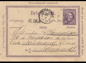 Ned. India 1891: post card to Samarand