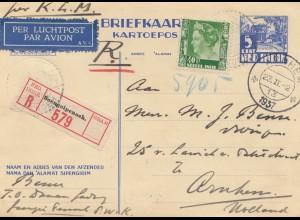 Ned. Indie 1937: post card registered/air mail Soengeipenoeh to Arnheim/Holland