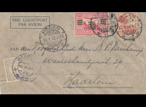 Ned. Indie 1932: air mail Medan to Haarlem, Holland, Tax