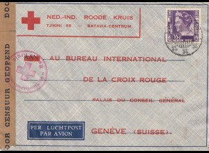 Ned. Indie 194x: air mail Malang to Red Cross/Croix Rouge Geneve/Suisse; censor