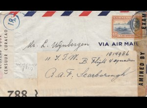 Ned. Antillen 1943: Curacao - censorship - to RAF Flight, London, Dutch Army