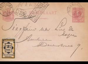 Surinam 1892: post card Paramaribo to Amsterdam/Holland