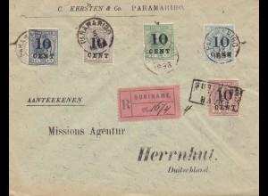 Surinam 1898_ regostered Paramaribo to Herrnhut/Germany