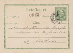 Ned. Indie 1885: post card Avond Weltevreden to Batavia