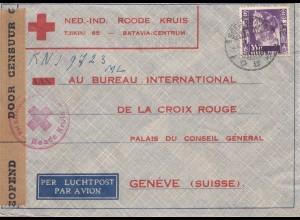 Ned. Indie 1940: Red Cross Batavia to Genf/Switzerland, air mail, censor
