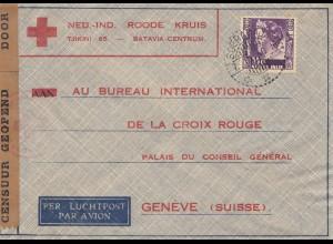 Ned. Indie 1940: air mail Red Cross Batavia to Genf/Switzerland, censor