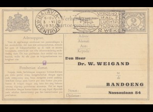 Ned. Indie 1931 Batavia to Bandoeng - post card adress change